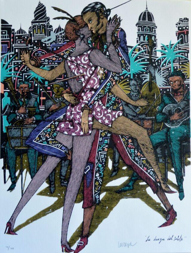 Ceesepe-La-danza-del-Sable-serigrafía-edicion-100-ejemplares-numerado-y-firmado-a-lápiz-65x50-cms-2